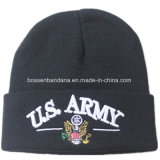 Chapeau acrylique de Beanie de Knit personnalisé par produit d'impression de vert d'armée d'usine