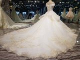 錯覚のレースの豪華な夜会服のウェディングドレス