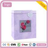 Bolsa de papel púrpura del regalo del almacén de la ropa de moda del modelo rojo de Rose