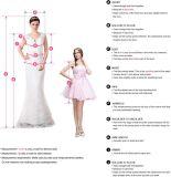 V vestidos nupciais curtos de vestido de casamento da esfera do laço da luva da garganta
