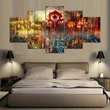 Panel-Welt des Segeltuch-Farbanstrich-Ausgangsdekor-Druck-Wand-Farbanstrich-5 von Warcraft für Wohnzimmer-Kunst druckte auf Segeltuch-Wand-Abbildung
