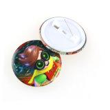 Venta al por mayor redonda en blanco barata de encargo de la divisa del botón del estaño del metal de la promoción con Pin de seguridad (YB-TB-01)