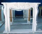 Camino di marmo bianco naturale di bordi della mensola del camino della decorazione del camino di pietra