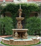 Het Beige die van de Steen van de tuin de Dierlijke Fontein van het Water van de Leeuw snijden