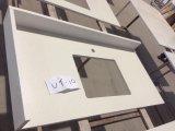 Het witte kwarts-P007-Countertop en Vanitytop van de Vlek van de Spiegel