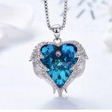 Ocean Coração Colares Suéter Pendente de cadeia de jóias de cristal austríaco