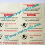 Impression des étiquettes en plastique de logo mondiaux pour 10ml Injection flacon utiliser