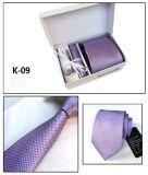 Les hommes de la haute qualité en polyester tissé 100% Neck Tie Hanky Cufflink Tie Pin SET (K09/11/12/13)