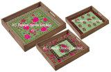 S/3 Cama de impressão personalizado quadrado servindo de madeira Bandeja Alça/W