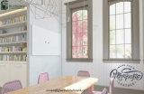 Schede di vetro di presentazione di disegno interno dell'ufficio