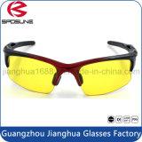 Lumière bleue d'anti rayonnement bloquant lunettes de soleil s'élevantes fonctionnantes UV de lentille en verre de vision nocturne d'oeil protecteur les 400 de volleyball jaune de tennis