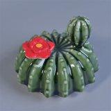 Vasi di ceramica della candela lustrati verde di disegno del cactus delle piante con i coperchi