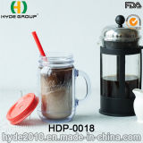 Klassische 20oz BPA geben doppel-wandiges Plastikmaurer-Glas mit Griff frei (HDP-0018)