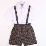 Camicia di cotone di estate 100%Cotton e uniforme scolastico bianchi dei capretti dei pantaloni