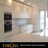 Мебель кухни Veneer золы деревянная горизонтальная с черным островом картины (AP025)