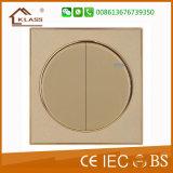 2 Pista Interruptor de parede com anel de ouro
