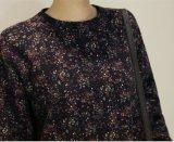 Продажа Горячей весны и осени длинной втулки абстрактной модели женщины платье с молнией