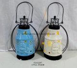 Lanterna di ceramica rotonda con la maniglia del metallo