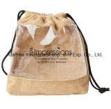Pequeña bolsa impresa aduana promocional del regalo de Hession del yute del lazo