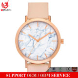 Yxl-092大理石の石造りの文字板のステンレス鋼の時計ケースの本革のファッション・ウォッチの流行の優雅なレディース・ウォッチの卸売