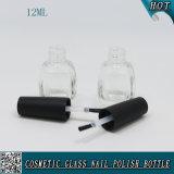 Botella de vidrio de 12 ml con tapa de esmalte de uñas y cepillo botella de esmalte de uñas vacía