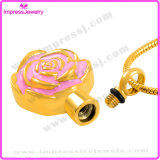 Pendente commemorativo della Rosa dell'acciaio inossidabile di doratura elettrolitica della collana dei monili delle ceneri bello