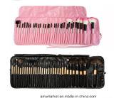 Комплект щетки 32PCS профессиональной ручки волос пинка черноты комплекта щетки состава синтетической деревянной миниый косметический