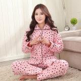 Procès complété par coton plus épais en gros de fourniture à la maison de revers de jupe de l'hiver de coton de l'hiver trois de coton de pyjamas de dames