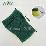 Double Use Sponge Scourer with Mesh Cloth and Scouring Pad