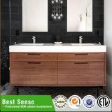 Gabinete de banheiro de madeira cerâmico dobro do retângulo