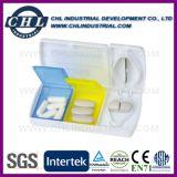 Boîte de pilule hebdomadaire de 7 jours avec coupeur, boîte de conditionnement mensuelle Oragnizer, boîte à distributeur de pilules Medcine Capsule, boîte à coupe à comprimés en métal, boîte à pilule à bouteille d'eau