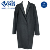 Black Long-Sleeve Turndown-Collar Single-Color Long Newstyle Fashion Ladies Coat