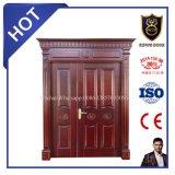 Doubles portes en bois solide de porte d'entrée pour la villa
