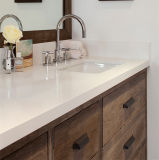 Parte superior branca da vaidade da pedra de quartzo do banheiro do teste padrão da textura