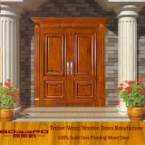 Porte en bois en teck massif Entrée frontale double porte pour villa (XS1-026)