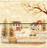 Il colore giallo ha lustrato le mattonelle di ceramica di sguardo della parete di marmo della stanza da bagno