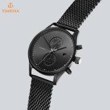 方法品質の男性用水晶日本動きの腕時計、黒い腕時計72790をめっきするステンレス鋼の手首の水晶腕時計
