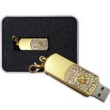 USB promocional de la memoria del eslabón giratorio del mecanismo impulsor del USB del diamante de la joyería de la dimensión de una variable del regalo