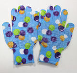 Цветок Sanjian напечатал изготовление перчаток сада перчатки работы сигнала бортовое поставленное точки PVC в Китае