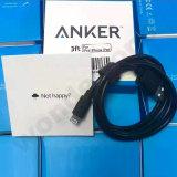 Горячий зарядный кабель USB Anker черноты сбывания