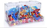 3 compartimientos de acrílico claros del caramelo de Comparements para el uso tablero