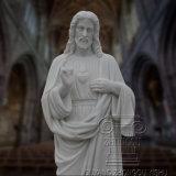 종교적인 예수의 손에 의하여 새겨지는 실물 크기 백색 대리석 상