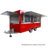 음식은 간이 건축물 거리 음식 트레일러 바퀴를 가진 이동할 수 있는 음식 차를 짐마차로 나른다