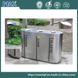 De hoogste Verkopende Bakken van het Afval van het Recycling van het Roestvrij staal van het Metaal Binnen 3 Compartiment Aangepaste voor Luchthaven