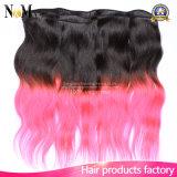 El pelo brasileño de la Virgen de las ventas de la explosión del pelo humano cose el pelo brasileño rojo de la venta de la armadura del pelo humano
