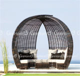 Rattan Sun Lounger with Shade