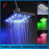 El LED colorea 12 pulgadas de rociador de arriba de ducha de la pista de la precipitación de cobre amarillo superior del cromo