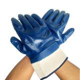 Перчатки тумака безопасности нитрила вкладыша Джерси хлопка Anti-Acid и Анти--Алкалиа польностью Coated