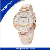 Relógio da faixa do couro genuíno do relógio de quartzo do aço inoxidável das mulheres