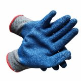 Gants de latex bleu 10g avec le coton gris à l'intérieur